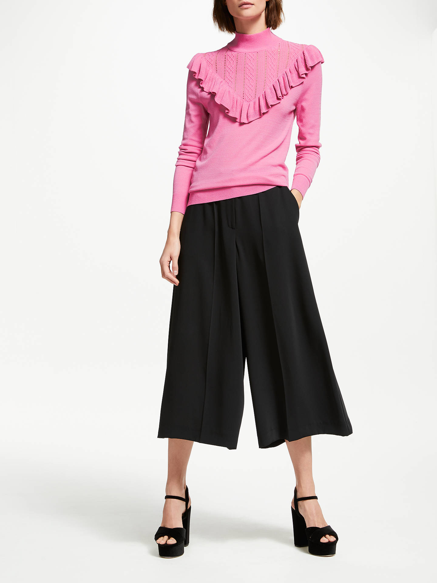 BuySomerset by Alice Temperley Frill Pointelle Knit Jumper, Pink, 8 Online at johnlewis.com