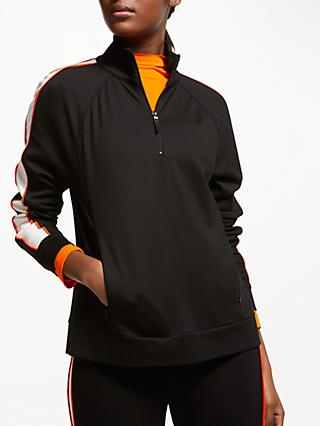 PATTERNITY + John Lewis Sport Stripe Zip Up Jacket, Black/White/Orange