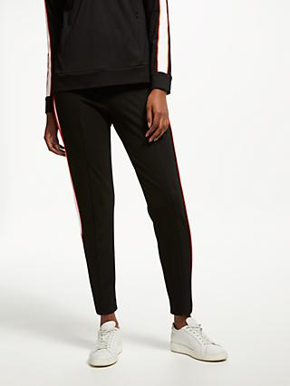 PATTERNITY + John Lewis Sport Stripe Ponte Jogger Trousers, Black/White/Orange