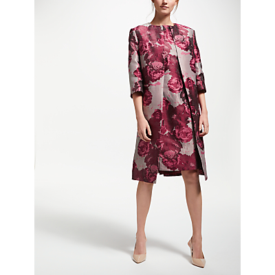 Bruce by Bruce Oldfield Jacquard Frock Coat, Pink/Wine Tasting
