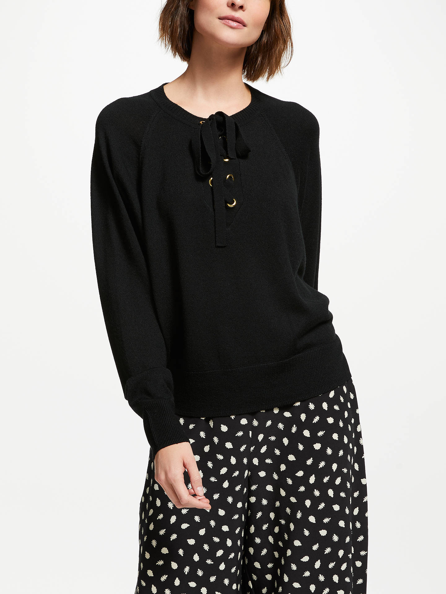 Buy Somerset by Alice Temperley Lace Up Jumper, Black, 18 Online at johnlewis.com