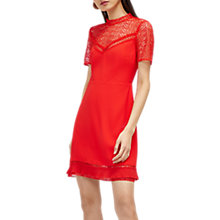 Buy Warehouse Crepe and Lace Mix Dress, Bright Red Online at johnlewis.com