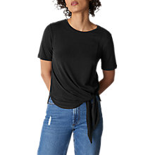 Buy Whistles Cupro Side Tie T-Shirt, Black Online at johnlewis.com