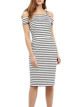 Phase Eight Shauna Striped Bardot Dress, Black/Ivory