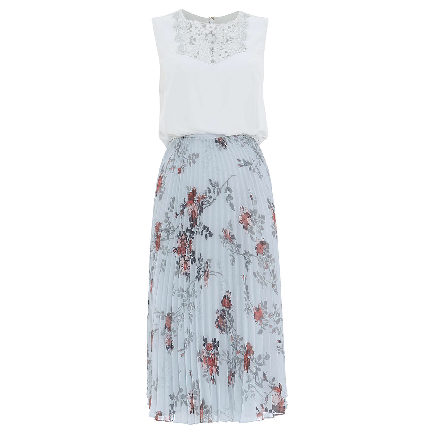Phase Eight Patricia Pleated Floral Dress, Mint/Multi at John Lewis