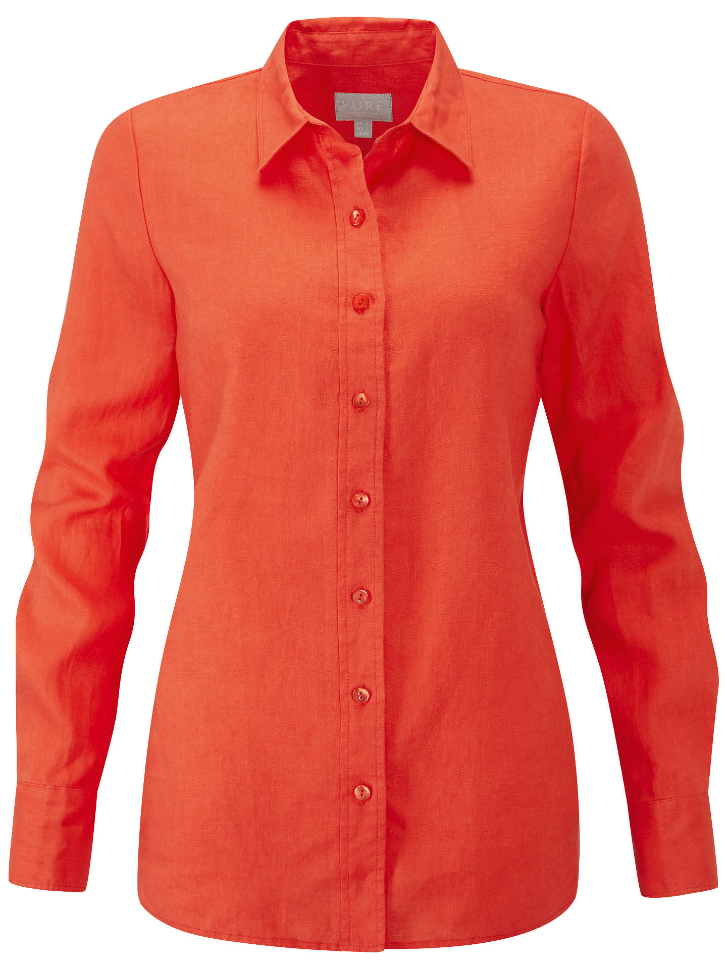 BuyPure Collection Linen Shirt, Hot Coral, 8 Online at johnlewis.com