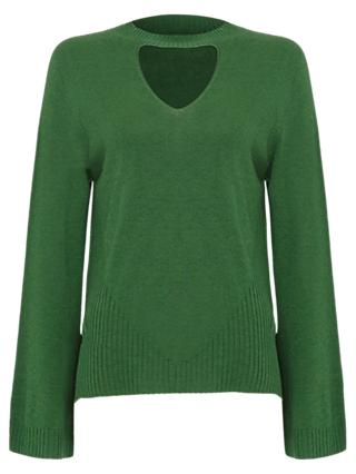 Damsel in a Dress Reese Cut Out Knit Jumper, Green