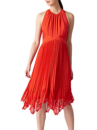 Whistles Lana Lace Pleat Dress, Flame