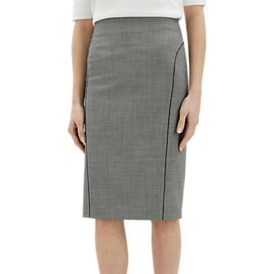 Jaeger Birdseye Piped Pencil Skirt, Charcoal