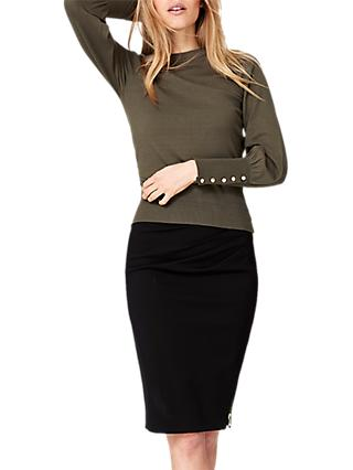 Damsel in a Dress Peyton Button Sleeve Jumper, Khaki
