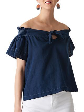 e0e5b74596 Whistles Tie Front Bardot Linen Top