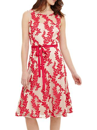 Phase Eight Adele Embroidered Dress, Pink