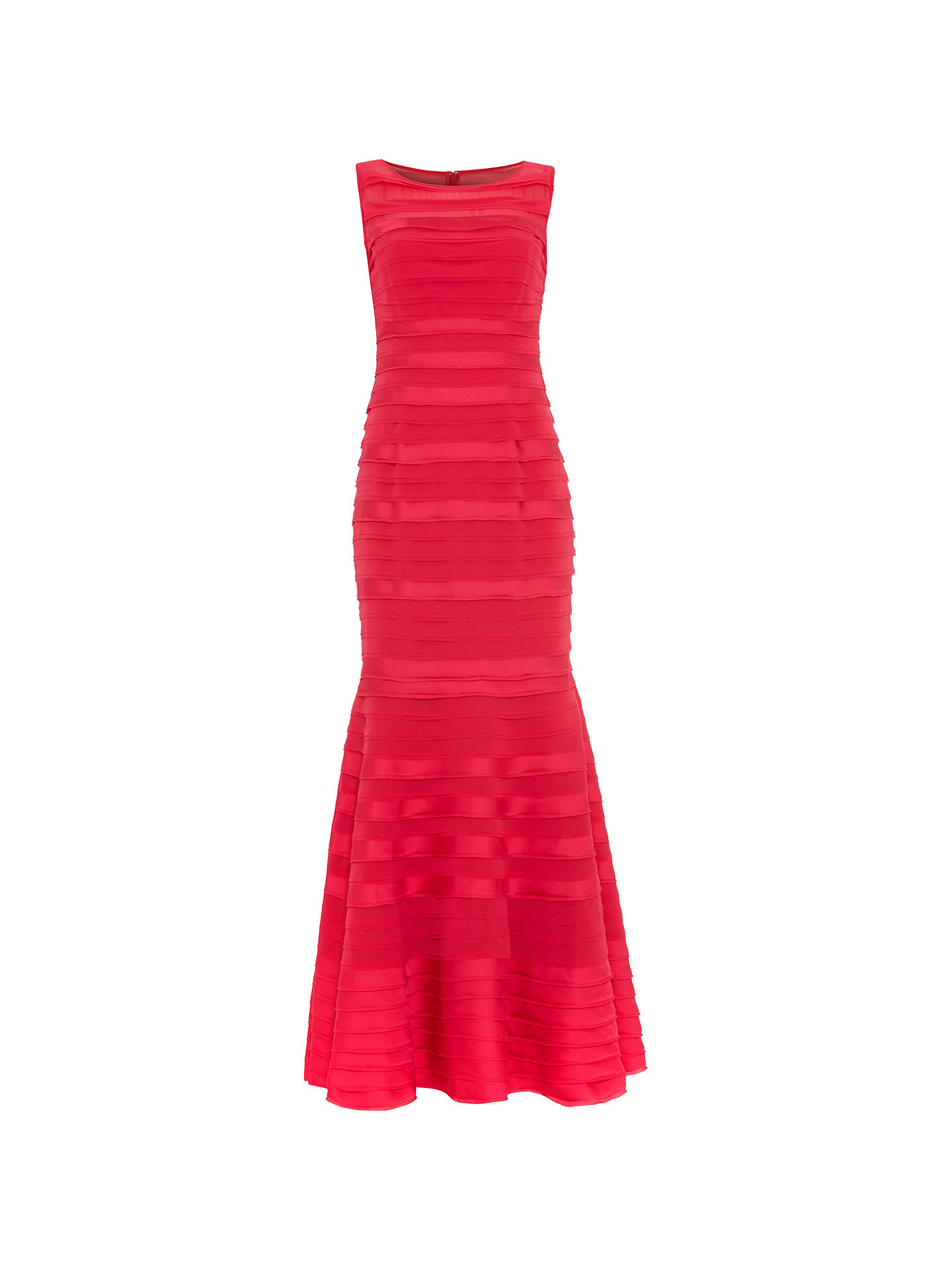 Buy Phase Eight Shannon Layered Mermaid Hem Sleeveless Floor Length Dress, Bright Pink, 14 Online at johnlewis.com