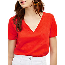 Buy Warehouse Slub V Neck T-Shirt, Bright Red Online at johnlewis.com