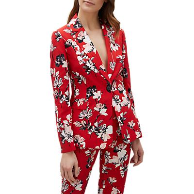 Jaeger Brushstroke Floral Jacket, Red/Multi