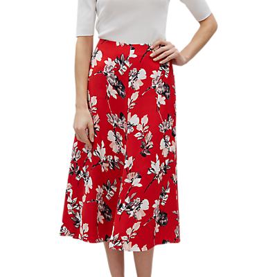 Jaeger Brushstroke Floral Skirt, Multi/Red