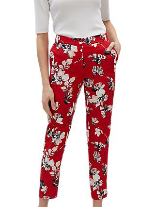 Jaeger Brushstroke Floral Trousers, Multi