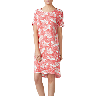 Pure Collection Floral Jersey Dress, Coral Floral