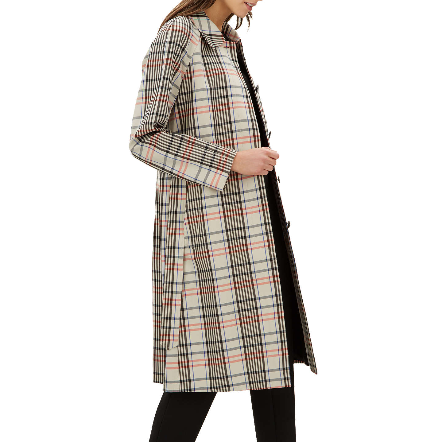 Jaeger Check Trench Coat, Stone by Jaeger