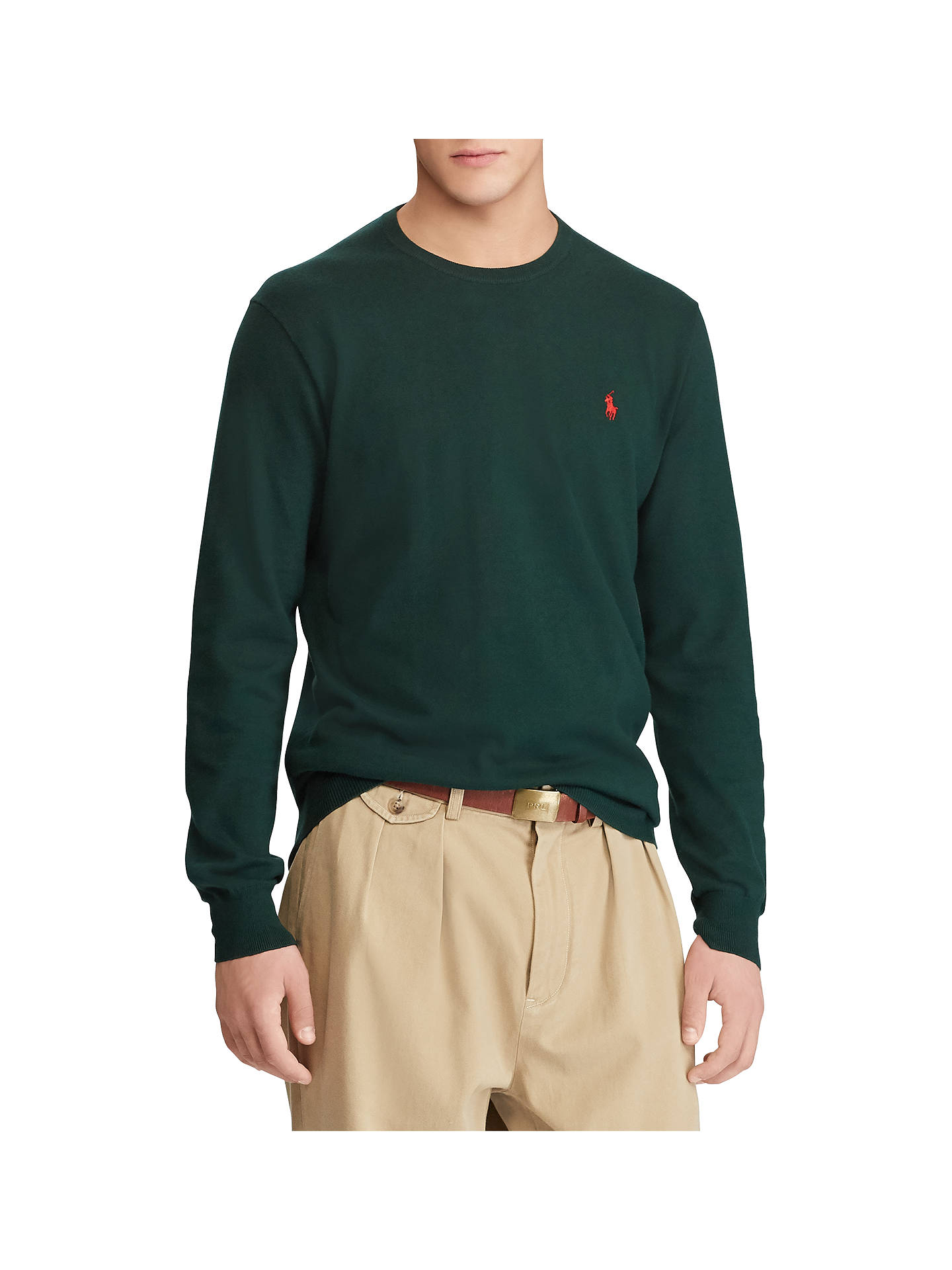 Buy Polo Ralph Lauren Slim Fit Pima Cotton Crew Neck Jumper, College Green, S Online at johnlewis.com