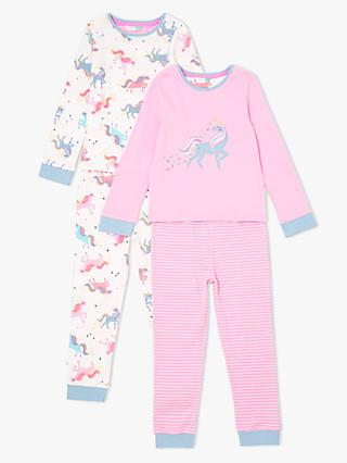 John Lewis & Partners Girls' Unicorn Pyjamas, Pack of 2, Pink/Cream