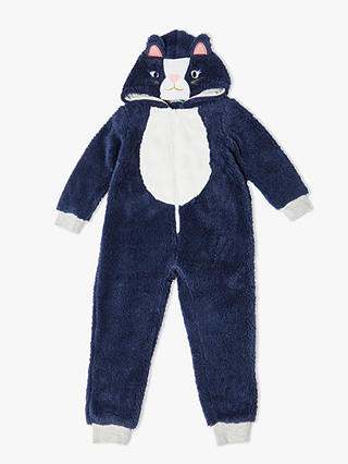 Buy John Lewis & Partners Girls' Cat Fleece Onesie, Navy, 8 years Online at johnlewis.com