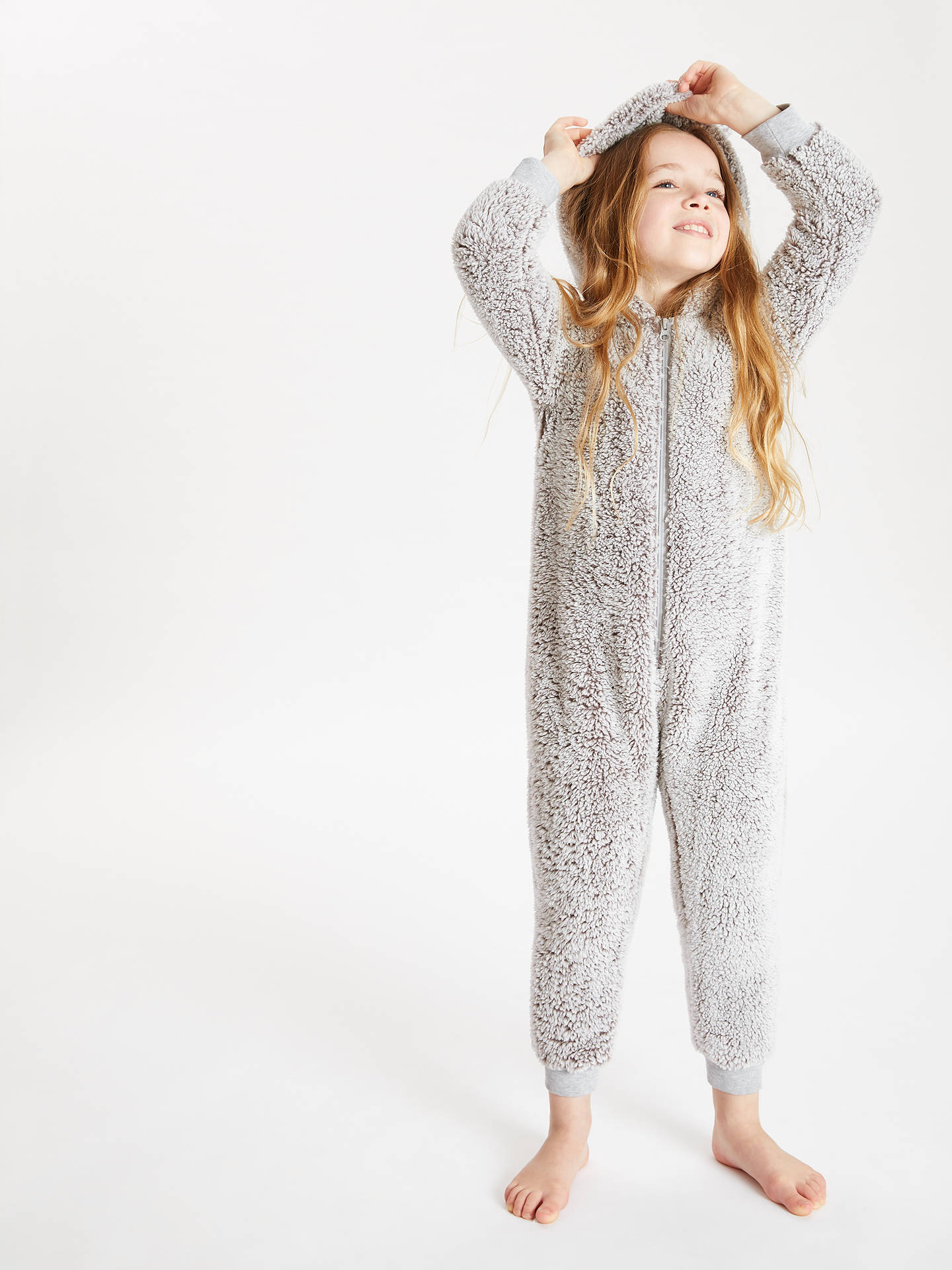 BuyJohn Lewis & Partners Children's Sherpa Fleece Onesie, Grey, 3 years Online at johnlewis.com