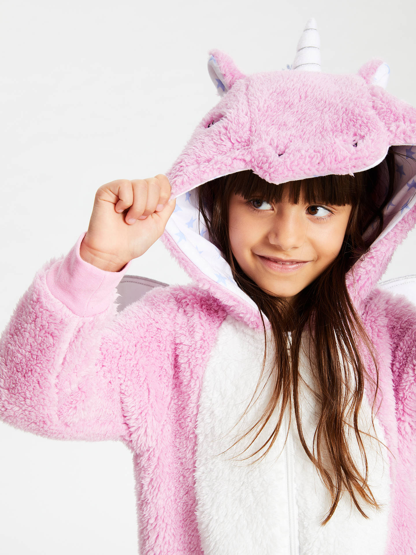 BuyJohn Lewis & Partners Girls' Unicorn Fleece Onesie, Pink, 3 years Online at johnlewis.com