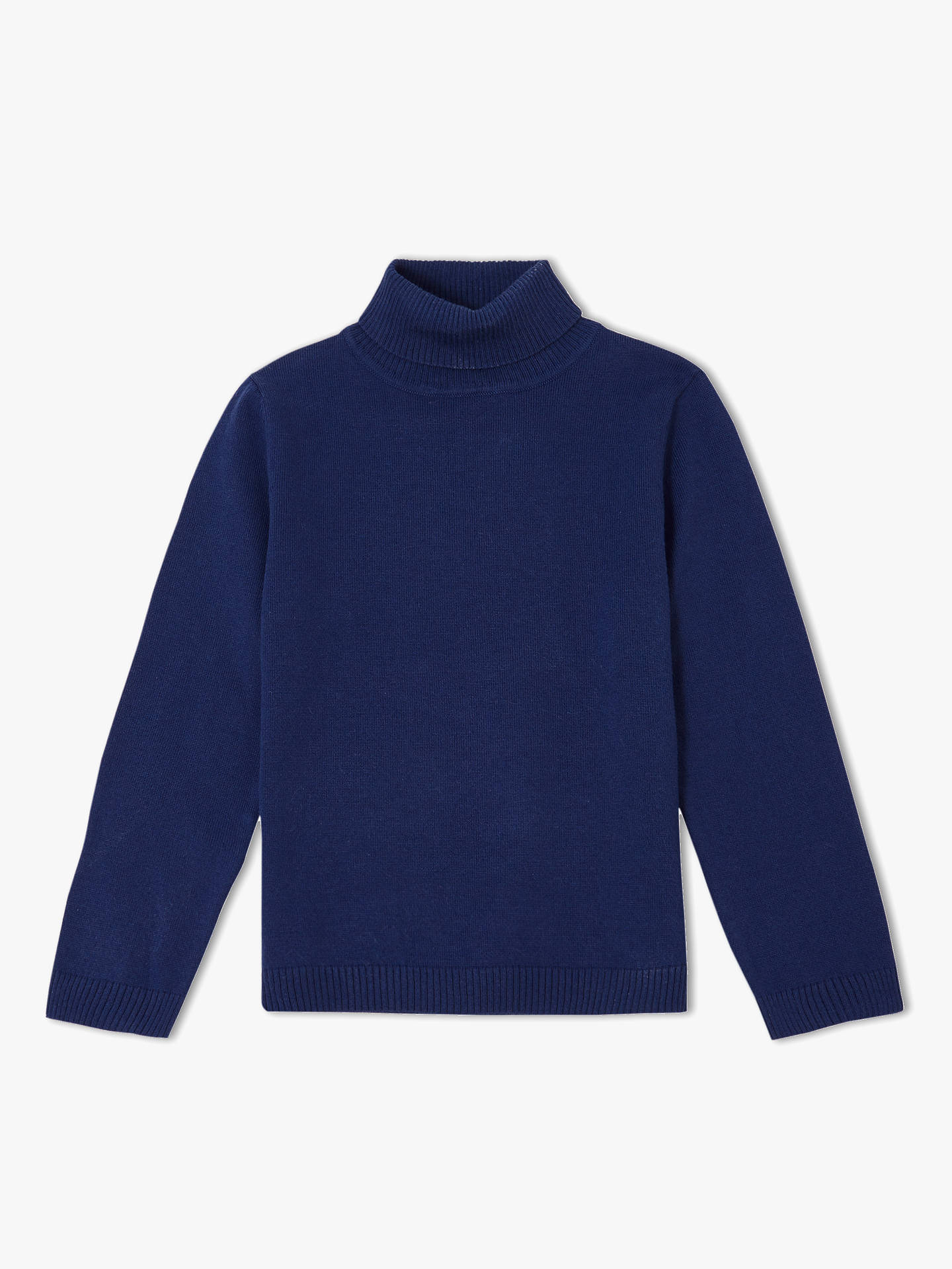 Buy John Lewis & Partners Girls' Roll Neck Jumper, Navy, 2 years Online at johnlewis.com