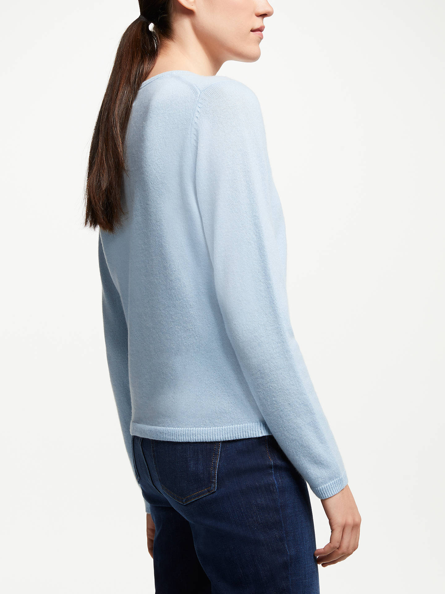 BuyJohn Lewis & Partners Cashmere Crew Neck Cardigan, Pale Blue, 20 Online at johnlewis.com