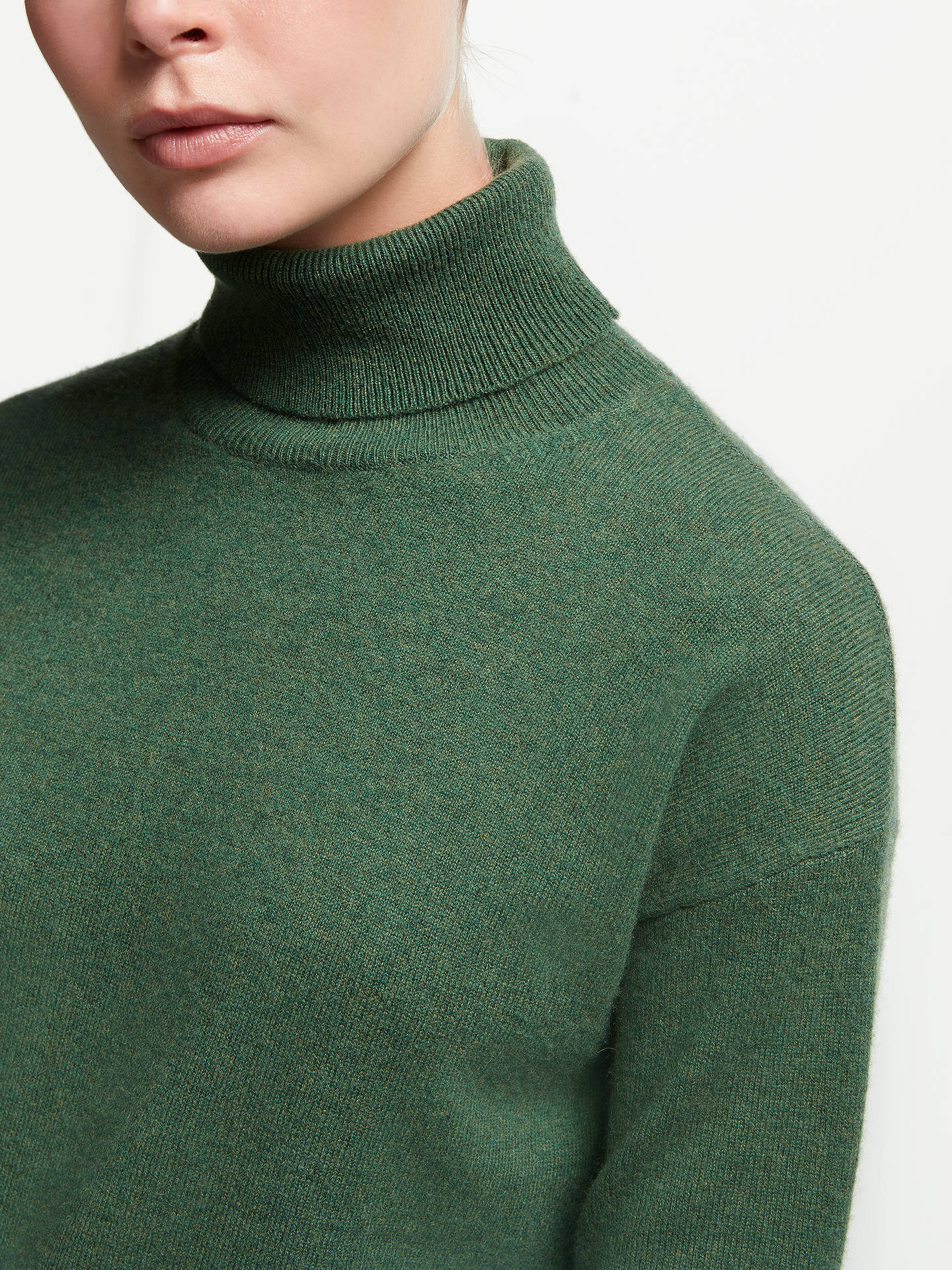BuyJohn Lewis & Partners Cashmere Relaxed Roll Neck Sweater, Grass Green, 8 Online at johnlewis.com