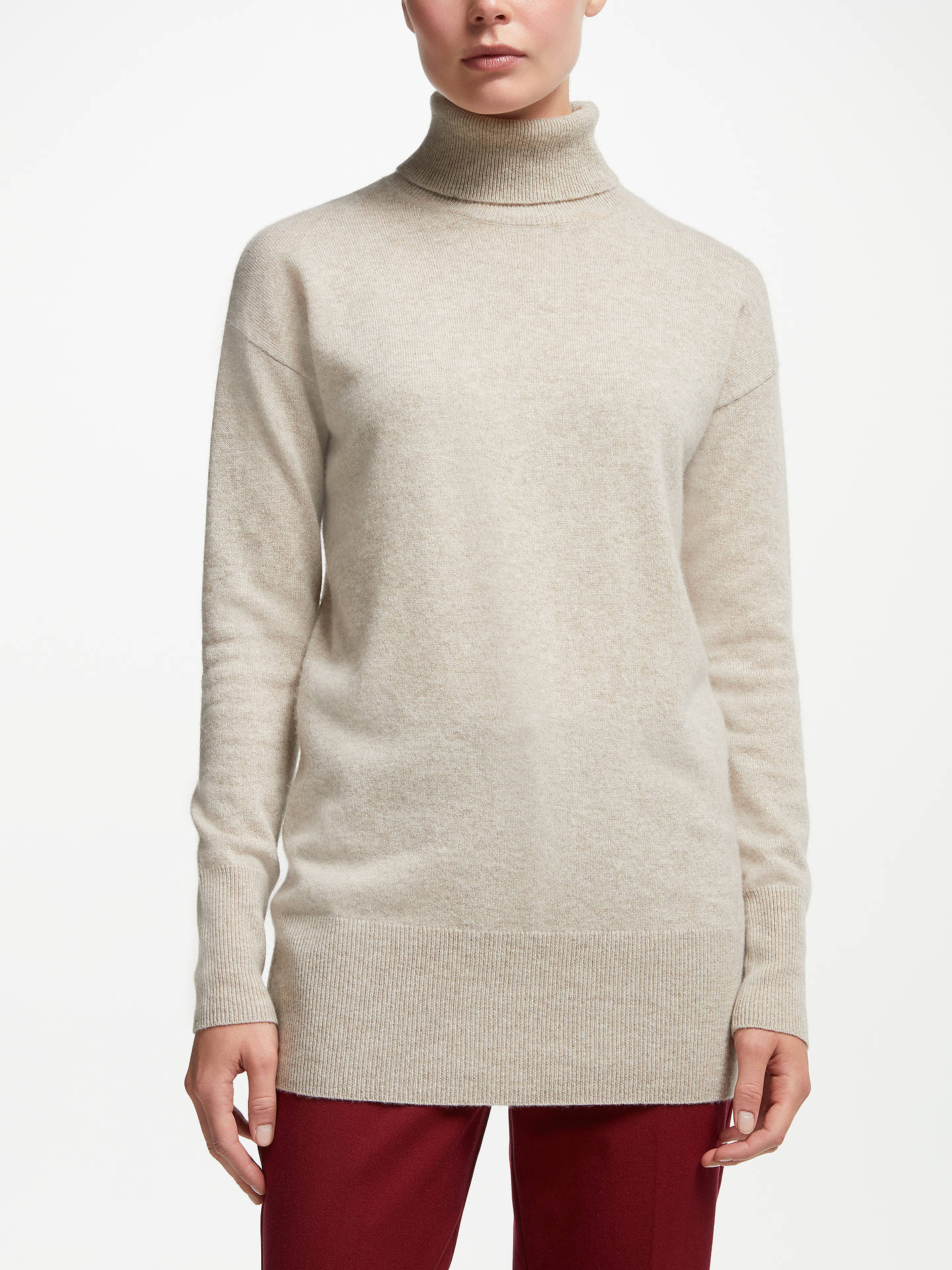 BuyJohn Lewis & Partners Cashmere Relaxed Roll Neck Sweater, Neutral, 8 Online at johnlewis.com