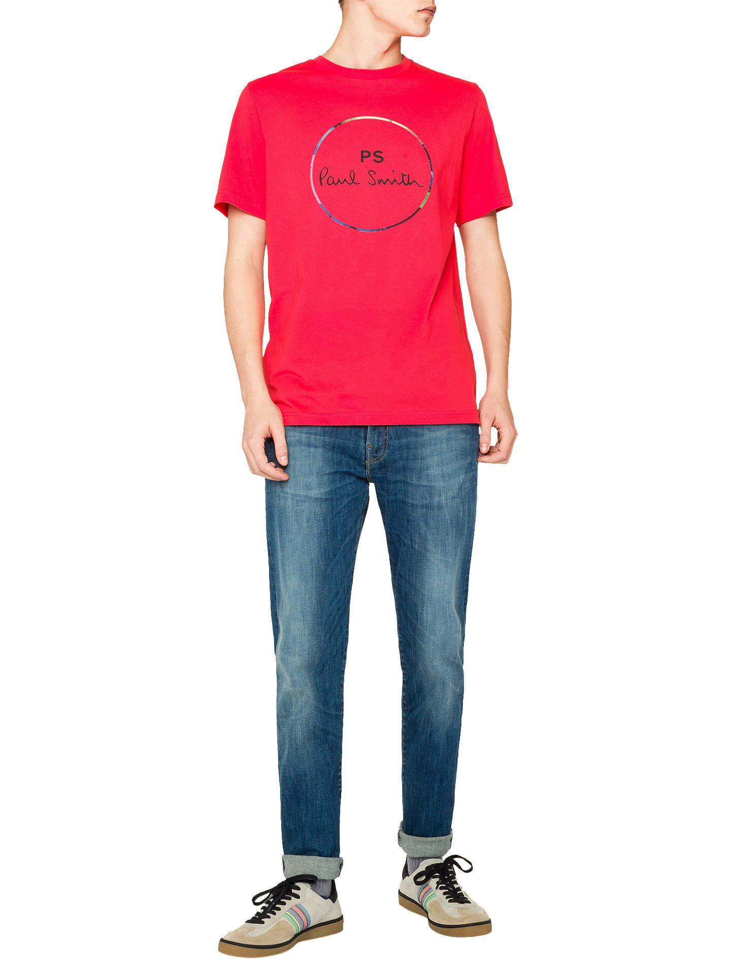 Buy PS Paul Smith Short Sleeve Circle Logo T-Shirt, Red, L Online at johnlewis.com