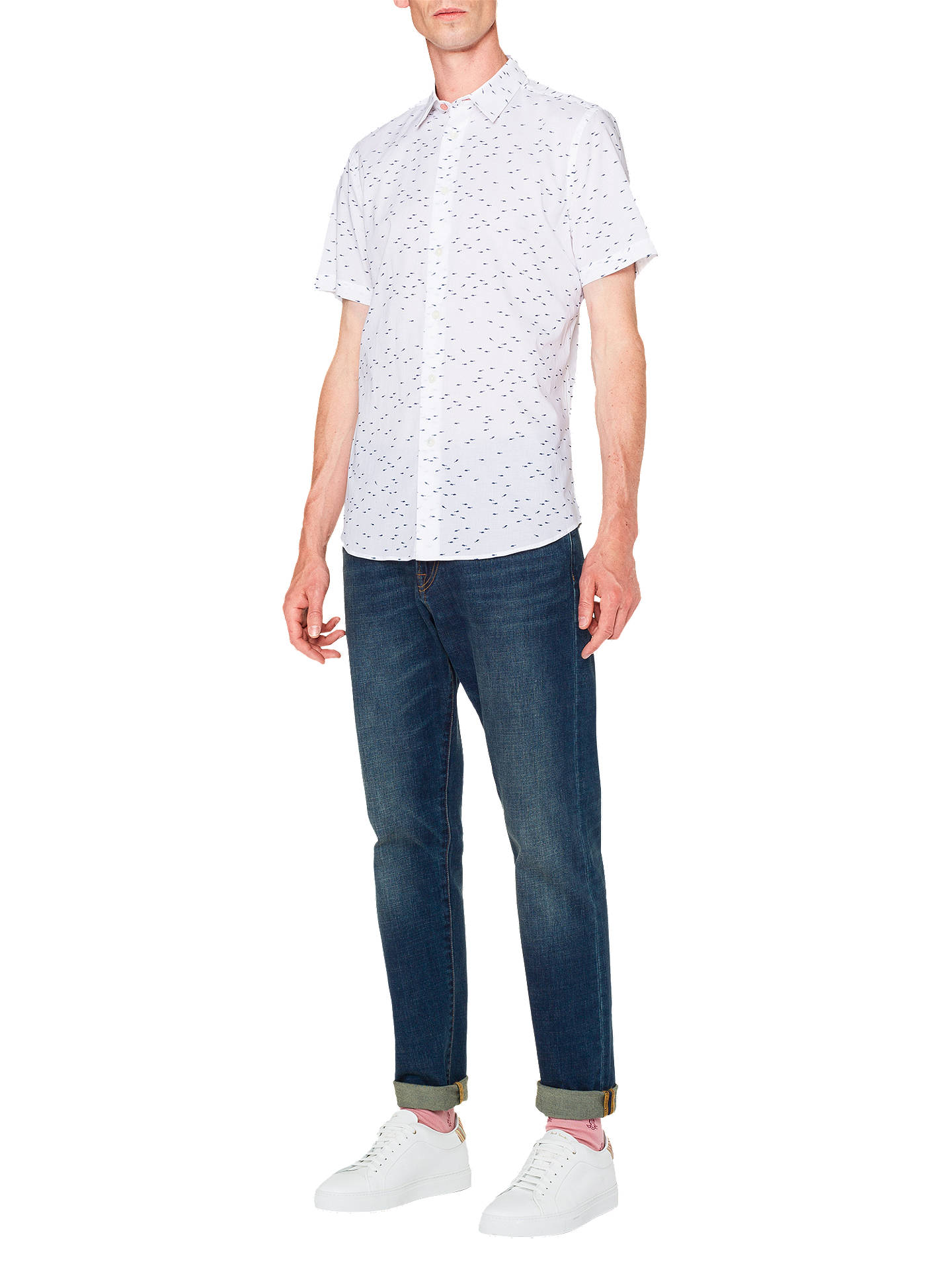 Buy PS Paul Smith Short Sleeve Fish Print Shirt, White, XL Online at johnlewis.com