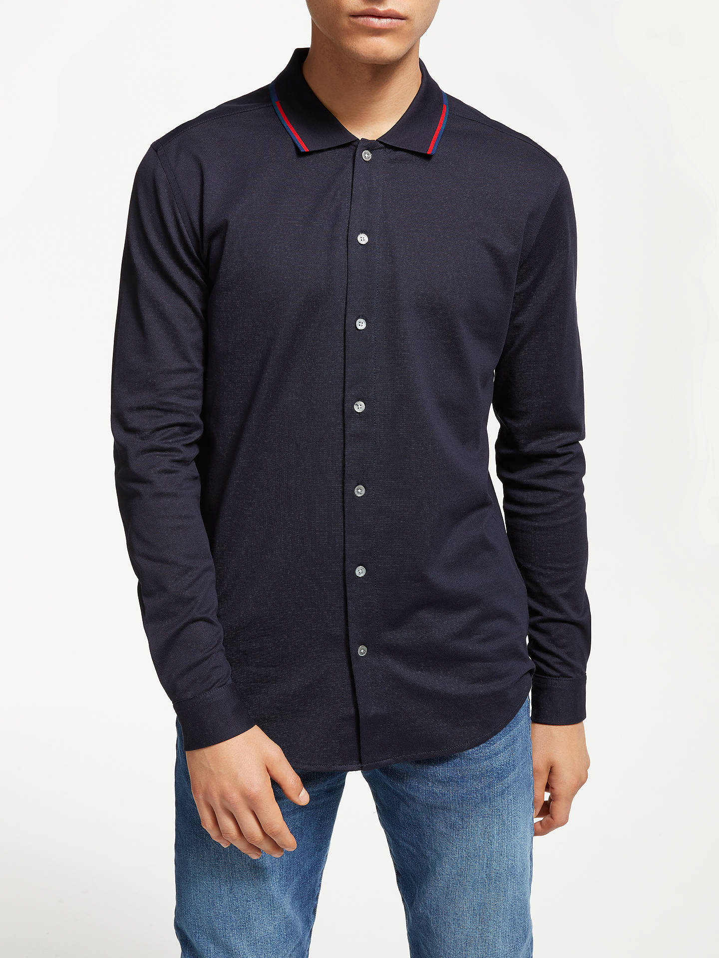 Buy PS Paul Smith Pique Long Sleeve Shirt, Blue, XL Online at johnlewis.com