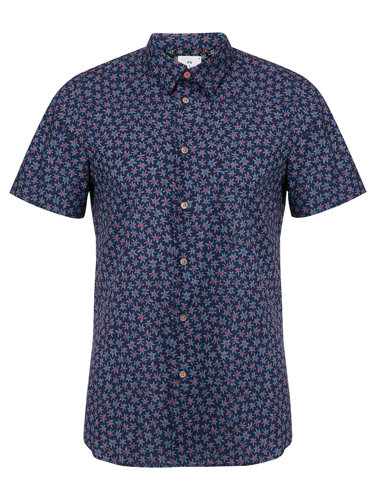 Buy PS Paul Smith Artist Short Sleeve Floral Shirt, Blue, L Online at johnlewis.com