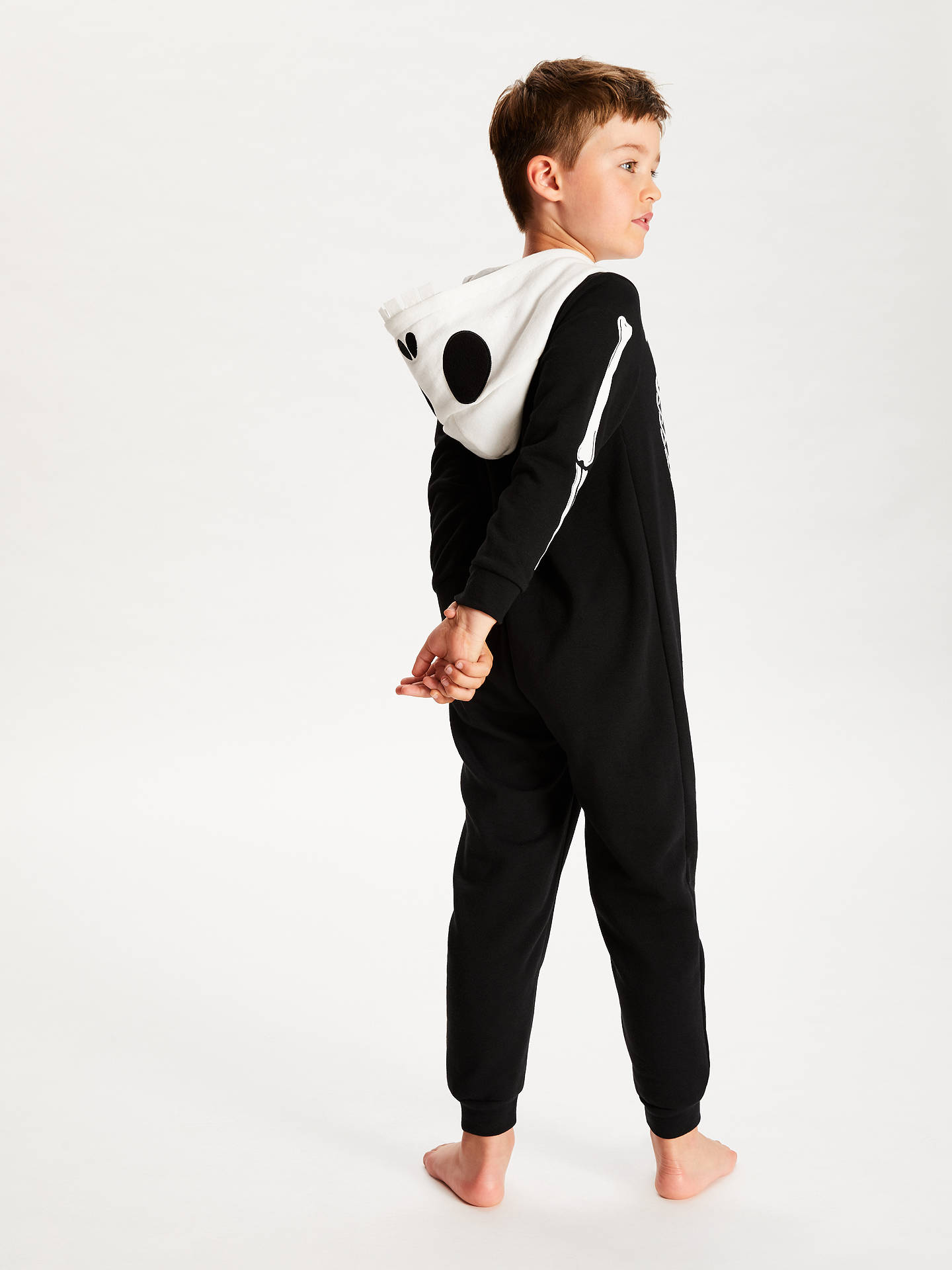 BuyJohn Lewis & Partners Children's Glow In The Dark Skeleton Print Onesie, Black, 7 years Online at johnlewis.com