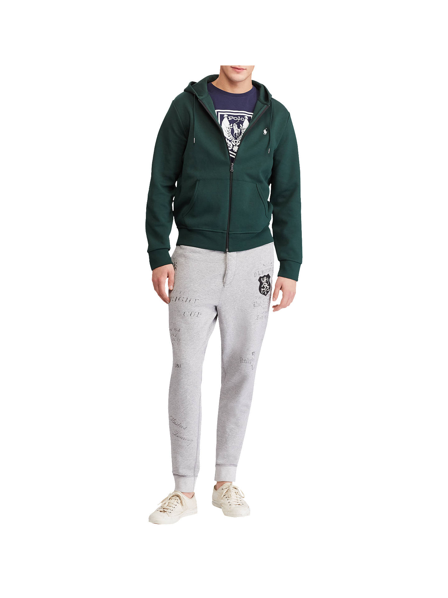 Buy Polo Ralph Lauren Long Sleeve Double Knit Hoodie, College Green, S Online at johnlewis.com