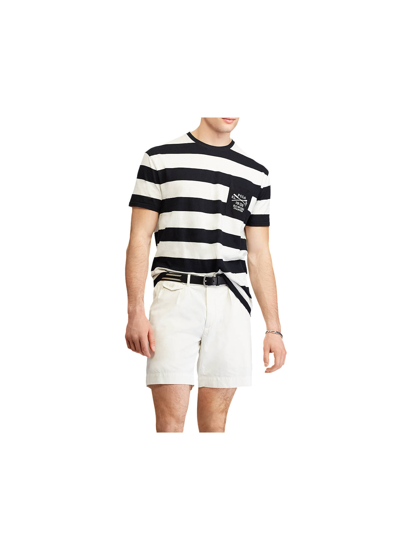 Buy Polo Ralph Lauren Short Sleeve Stripe Logo T-Shirt, Polo Black/Desk Wash, M Online at johnlewis.com
