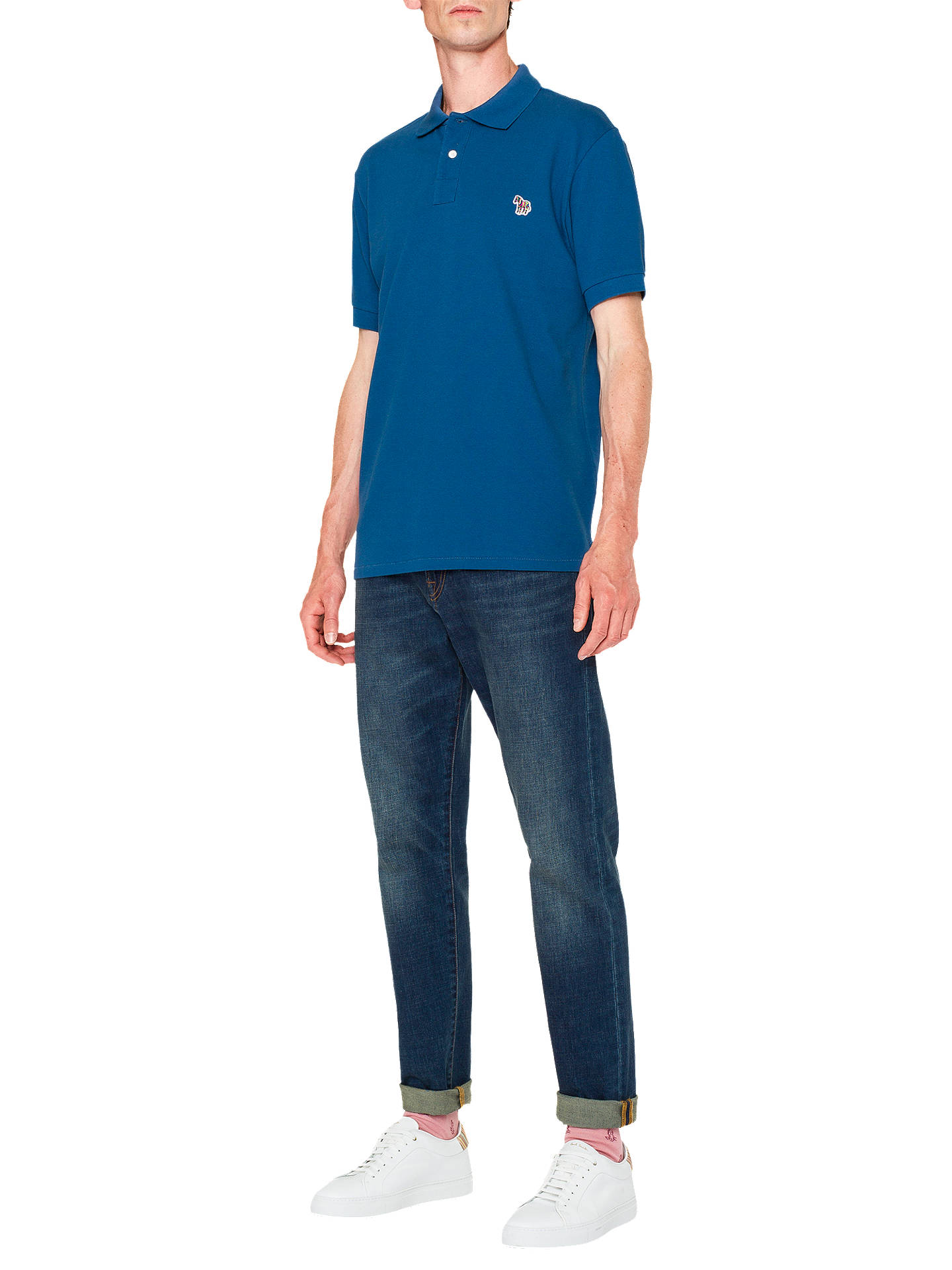 BuyPS Paul Smith Organic Cotton Pique Zebra Polo Shirt, Blue, L Online at johnlewis.com