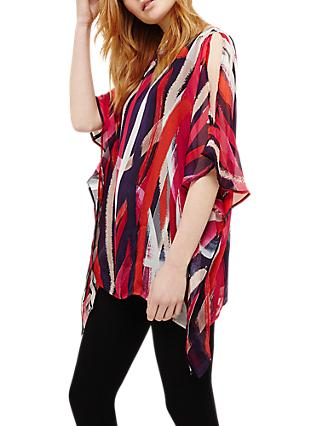 Phase Eight Katia Silk Paint Brush Blouse, Navy/Multi