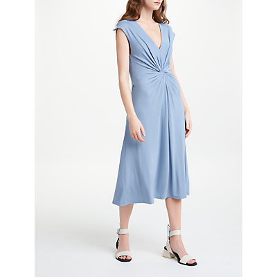 Finery Caledonian Twist Jersey Dress, Dusky Blue
