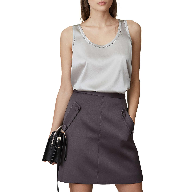 Gene - Button-pocket Mini Skirt in Charcoal, Womens, Size 10 Reiss
