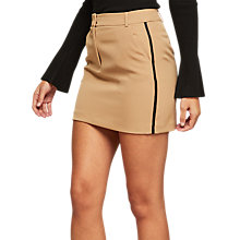 Buy Miss Selfridge Side Stripe Mini Skirt, Camel Online at johnlewis.com
