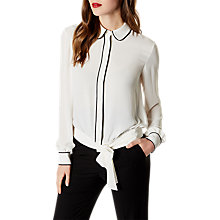 Buy Karen Millen Tie Waist Piped Shirt, Ivory Online at johnlewis.com