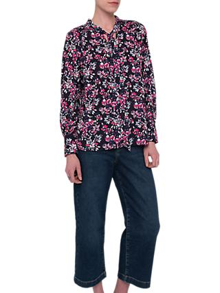 French Connection Linosa Crepe Ditsy Blouse, Utility Blue/Multi
