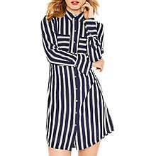 Buy Oasis Long Sleeve Stripe Shirt Dress, Blue Online at johnlewis.com
