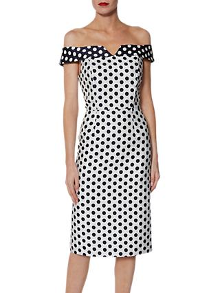 Gina Bacconi Trinny Jacquard Spot Dress, White/Navy