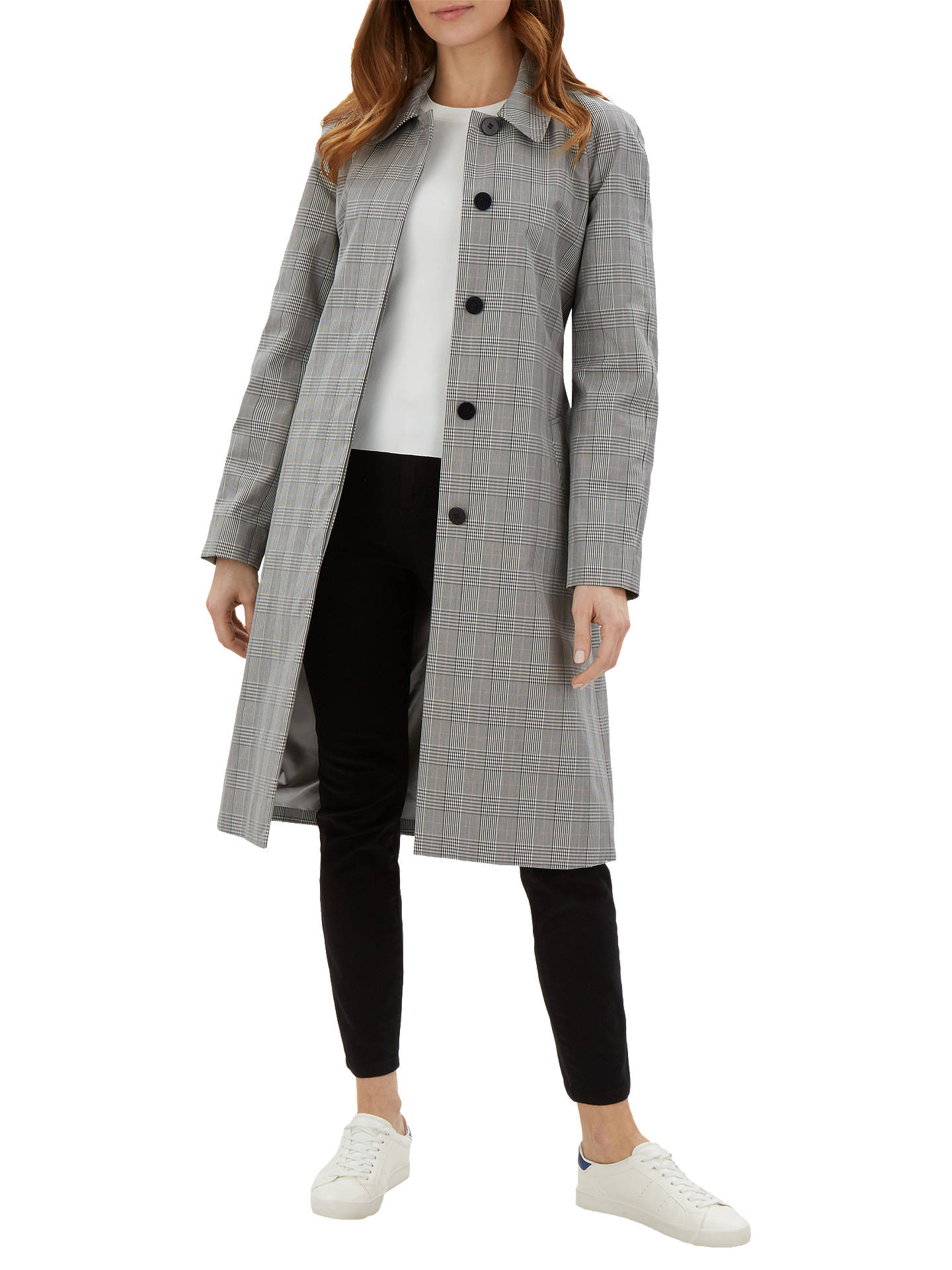 766a0ab250b5 Buy Jaeger Prince of Wales Check Trench Coat, Black, 6 Online at johnlewis.