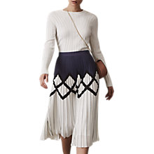 Buy Reiss Elsa Pleat Midi Skirt, Navy/White Online at johnlewis.com